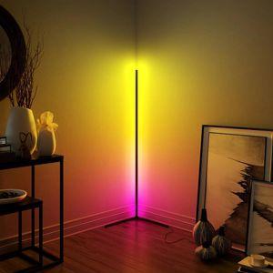 Lampe de sol moderne à LED Chambre à coucher Atmosphère Chambre de nuit Chambre à coucher de chevet Salon coloré Dimming Intérieur