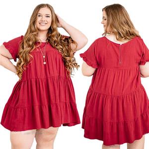 HOT SALE Women's Plus Size 2XL-6XL Summer new European and American large women's dress cotton long skirt