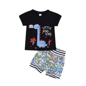 Ins Summer Dinosaur Baby Suits Cotton Boys Outfits Infant Sets Cotton Short Sleeve T Shirt+Shorts 2Pcs Toddler Clothing 0-4Y B3777