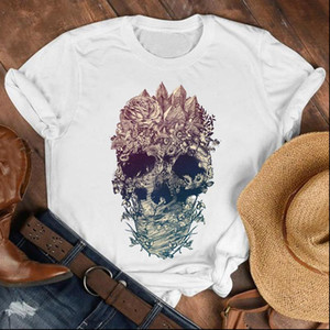 Women Lady Floral Face Horror Summer Autumn 90s Fashion Shirt Clothes Womens Top Female Print T Tshirt Tee T shirt