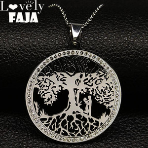 Couple Tree of Life Crystal Stainless Steel Necklace Women Silver Color Statement Necklace Jewlery arbol de la vida N186718S03