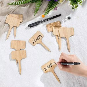T-Type Bamboo Plant Labels Eco-Friendly Wooden Plant Sign Tags Garden Markers for Bonsai Seed Potted Herbs Flowers Tool