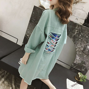 2021 spring dress new Korean casual loose versatile shirt women's middle and long student jeans windbreaker thin coat