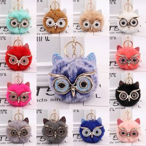 Faux Rabbit Fur Pompoms Keyring for Women Girl Super Cute Animal Pom Pom for Backpack Creative Owl Fluffy Keychain Accessories Kimter-P15FA