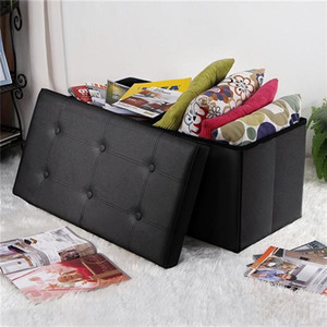 2021 hot sale ottomans waterproof foldable footstool FCH PU Leather Footstool with Leather Footstool Black 76*38*38cm