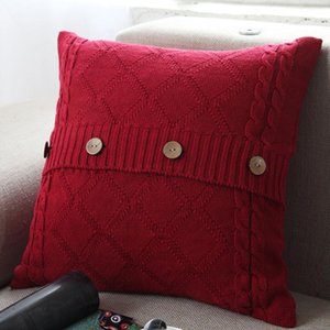Knitting Button Throw Pillow Case Cafe Sofa Cushion Cover Home Decor Housse De Coussin Decorative Pillows Cojines Navidad DHC6169