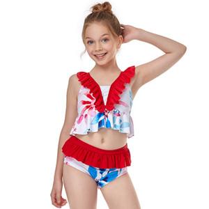 New kids' Ruffle high waist bikini split girls' swimsuit