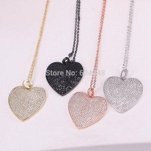5 Strands Zyunz Fashion Jewelry Heart Pendant Pave CZ Cubic Zirconia Wedding Bridal Necklaces for Women