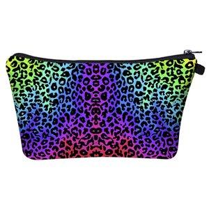 2021 Ins 16 Colors Colorful Leopard Print Cosmetic Bag 3D digital printing storage washing bag Travel organization women's Makeup Handbag