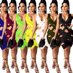 2021 Summer Women Dress Sexy Hollow Out Slim Woven Skirt Girls Fashion Beach Casual Solid Color Sleeveless Bodycon Dress S-3XL H32BKS2