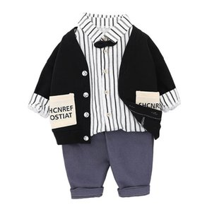Spring Autumn Boys Suits Infant Outfits Baby Clothes Toddler Sets Cardigan+Shirt+Trousers Pants 3Pcs 0-4Y SM016