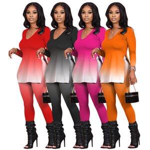 Дизайнер женские два куска набор штанов на нарядами с длинным рукавом рубашка брюки утсоит пуловер колготки спортивная одежда горячий бегурок пот
