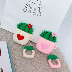 Cute 3D Plant Cactus Love Heart Bluetooth Wireless Silicone Case for Airpods pro 2 Charging Headphone cover