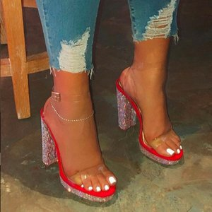 Dihope New Women Bordeado Sandalias transparentes 2020 Tacones altos de verano Sexy Punto de punta puntiaguda Hebilla de boda Pelotes de moda D47R #