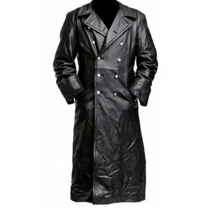 Mens New Style Medieval Vintage Leather Trench Coats Pure Long Leather Jacket Trench Coat Male Clothing Streetwear Windbreaker