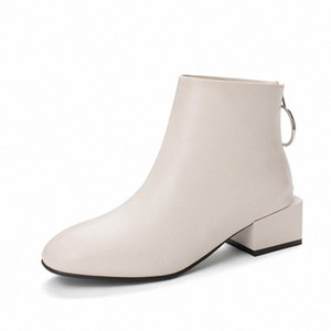 KALENMOS Ankle Boots Women Block Mid Heel Back Zip Leather Booties Square Toe Autumn Winter Boots Women Shoes Plus Size 33 46 Girls Bo 246F#