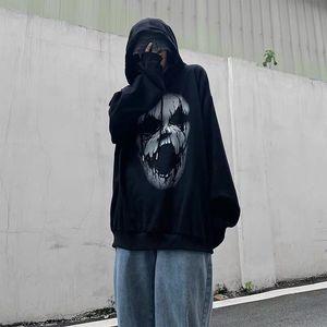 2021 New Preto Diabo Topos Streetwear Engraado Outono Masculino Harajuku Pulver Moletom Com Capuz Coreano Moda Oversized Punk Hoodie D8xj