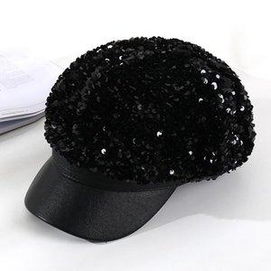 Cappelli invernali autunno per le donne con paillettes cappellini ottagonali signore casual cappello in lana invernale berretto da donna tappo HR122305