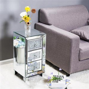 Bedroom Furniture Nordic Simple Modern and Contemporary Mirror Surface With Diamond 3-Drawers Nightstand Bedside Table