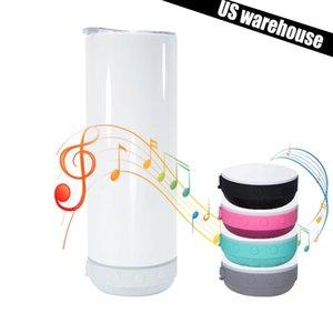 US Warehouse Sublimation Blutooth динамик тумблер пустой чашка белые портативные беспроводные динамики 20oz Travel Curs Smart Music Cups оптом оптом солома