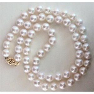 14 k 20 amarillo oro clásico NATURAL8-9mm blanco del Mar del Sur collar de perlas 18 pulgadas