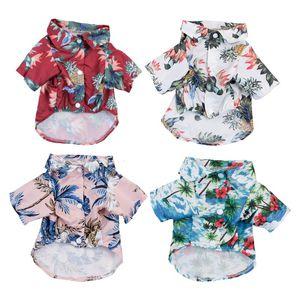 Pet Dog Одежда Гавайский стиль летние пляжные рубашки жилет домашней одежды Флористическая футболка для маленькой большой собаки чихуахуа