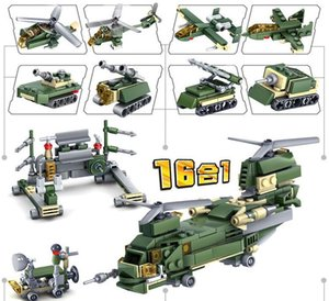 16in1 Military Tank Army Figures Troops Armored Car Building Blocks Sets DIY Bricks Helicopter Aircraft Model Education Kids Toys 06
