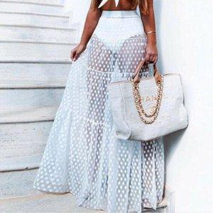Skirts 2021 Sexy Ladies Women Skirt Dot Solid Black White High Waist Summer Transparent Mesh Long Maxi