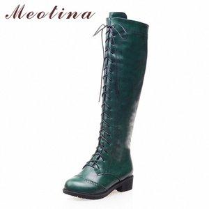 Meotina Kadınlar Motosiklet Çizmeler Yuvarlak Burun Tıknaz Topuk Sürme Çizmeler Ayakkabı Kadın Lace Up Diz Yüksek Siyah Yeşil Boyutu 34 39 Süet Boots Me 43N0 #