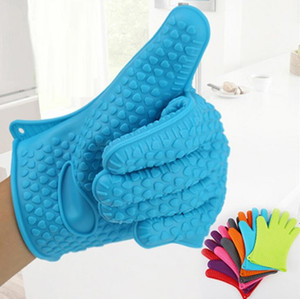 Kitchen Microwave oven mitt Baking Gloves Thermal Insulation Anti Slip Silicone Five-Finger Heat Resistant Safe Non-toxic Gloves BWB5052