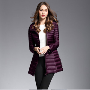 Navy red purple black Winter Plus Size Womens Long Down Jackets Ultra Light Duck Down Coat Puffer Jacket Slim Autumn Parkas Lady