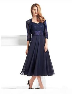 2019 New Sexy Tea-length 3 4 Length Sleeve Chiffon Lace with Lace A-line Mother of the Bride Dress vestidos de novia