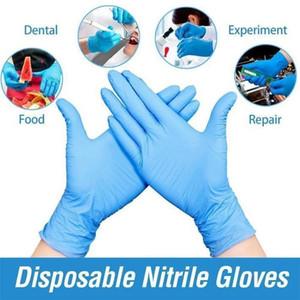 Синие черно-белые нитриловые одноразовые перчатки без порошок без порошок (не латекс) - пакет из 100 шт. Перчатки против забитых антибакислотных перчаток FS9518
