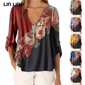 Fallo de la impresión de las mujeres Camisa de las mujeres del otoño v cuello de manga larga suelta casual camiseta Harajuku moda coreana más tamaño hembra jerseys tops 210306