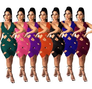 2021 new design European and American women's sexy pure color Hollow tight asymmetrical sleeveless V-neck skirt women's sexy miniskirt M8