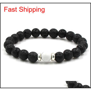 Lava Stone Beads Bracelets Natural Black Essential Oil Diffuser Elastic Bracelet Volcanic Rock Beaded Hand Stri qylYhF new_dhbest