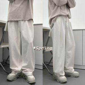 2021 New Spring Wide-leg Men's Fashion Retro Casual Jeans Men Streetwear Korean Loose Hip-hop Straight Denim Trousers Mens Xs-xl Deny
