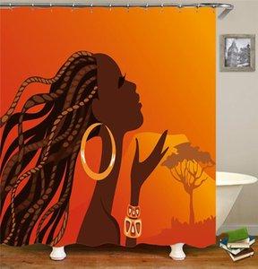 오렌지 풍경 욕실 세트 샤워 커튼 세트 후크 방수 화장실 목욕 커튼 에코 친화적 인 패션 인쇄 커튼