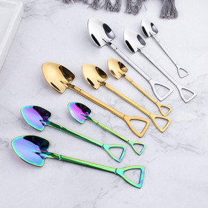 Stainless Steel Dessert Spoon Shovel Shape Forks Tea Coffee Stirring Spoon Cake Ice Cream Fruit Fork Cafe Tea Sugar Spoons HB