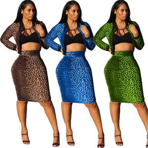 Women Leopard Two Piece Dress Fashion Zipper Neck Crop Top Knee-Length Dresses Women S Clothing 2 Piece Set