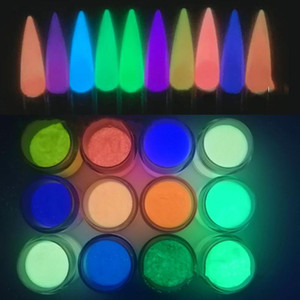 12 Jars (12Colors Nail Powder ) Colored GLOW IN THE DARK Acrylic & dipping powder for nails Glow-In-The-Dark Acrylic