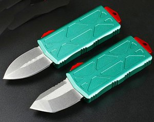 Special Offer Green AUTO Tactical Knife D2 Spear Point  Tanto Point Blade 6061-T6 Handle Outdoor EDC Pocket Knives With Nylon Sheath