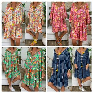 Casual Dresses 9 Colors Women Boho Summer Floral Long Sleeve Holiday Beach V Neck Flared Shirt Dress Loose Plus Size S-5XL