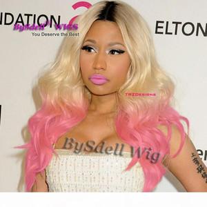 Heißer Verkauf Celebrity Nicki Minaj Hairstyle Lace Front Perücke Synthetische Schwarz Ombre Blondine zu Rosa Rot Farbe Spitze Frontperücken Zu verkaufen