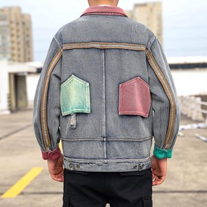 Autumn and Winter New Jacket Men's Thick Large Size Loose 5XL Casual Denim Jacket Mens Fashion Stitching Retro Wind Jeans