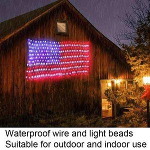 110V 30V-120V American Flag String Lights 6.5ft*3.3ft LED Strip Light USA Net Lighting Hanging Ornaments IP44 crestech168