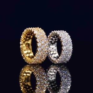 Cluster Rings Mens Hip Hop Ring Full Cz Eternity Band Wedding Engagement Couple Gold Color Bling Triple Row Women Men