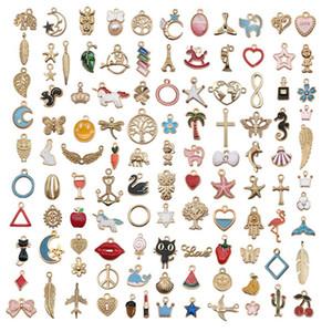 Enamel liga mistura pequenos pingentes encantos animais frutas bracelete DIY Colar bonito chaveiro brinco para mulheres jóias Encontrar presente 59 T2