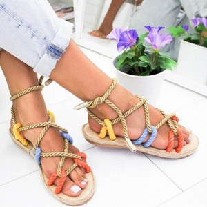 JUNSRM ROMA ZAPA DE LAS MUJERES DE LAS MUJERES DE VERANO Zapatillas de encaje plano Cuerda plana zapatillas de punta abierta Sandalia Sandalia Feminina Chaussures Femme N2HG #