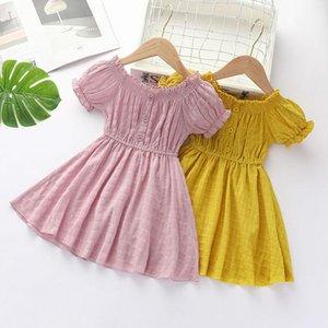 Видмид Летние новые девушки плиссированные с короткими рукавом платья детская принцесса хлопковые платья детские девушки сладкая мода P2228